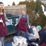 CEP '13 students Nick, Amy, and Maggie sorting through trash in Red Hook