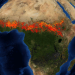 "Satellite image of ""2002 African fires"" Credit: NASA"