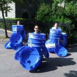 Diana (left) and colleagues with new Recycling bins in Anne Loftus Playground