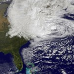 A satellite image of Hurricane Sandy off the East Coast on Oct. 29, 2012. Photo by NASA via Getty Images