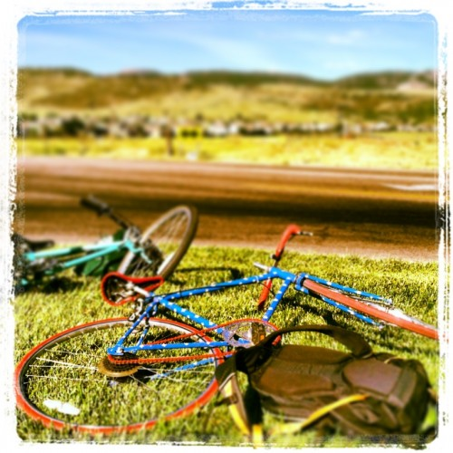 A bike rests in front of the foothills on Bike to Work day.
