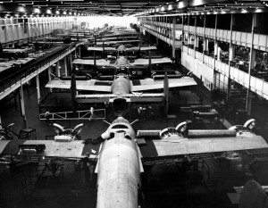 Liberty B24 bombers are assembled at the Ford Motor Company's Willow Run plant in 1943, as part of the Allies' World War II effort. Source: The Detroit News