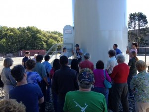 Community members listen to turbine talk