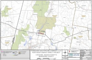 The revised route that Kinder Morgan has proposed through the Berkshires for its high pressure natural gas pipeline, avoiding the towns of Lenox, Pittsfield, and Washington. (The Berkshire Edge)