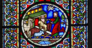 Stained glass window, Ely Cathedral. Noah's Flood by Alfred Gérente of Paris, 1849