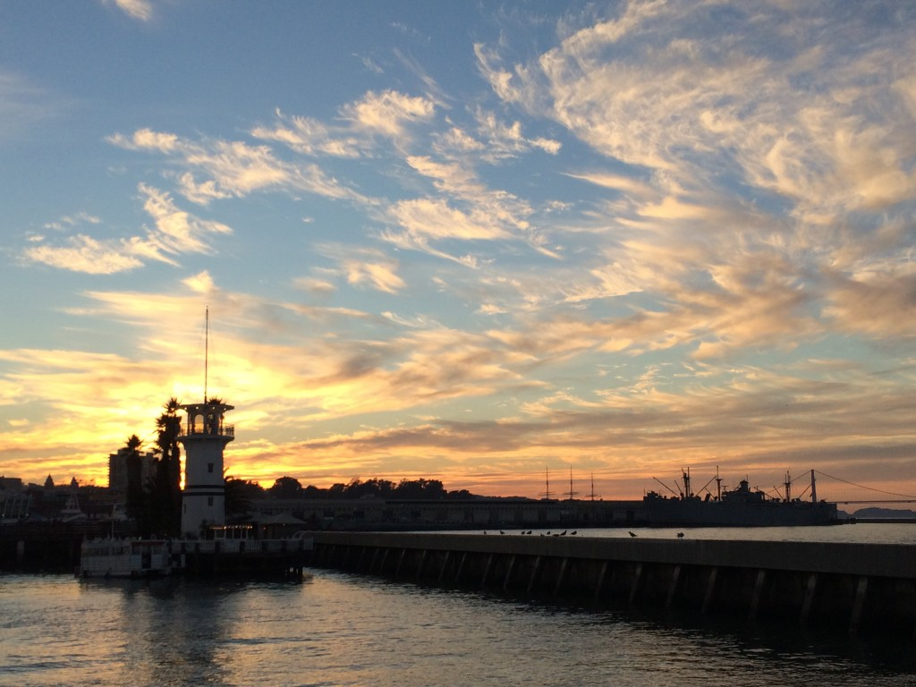 a sunset view of the Fisherman's Wharf