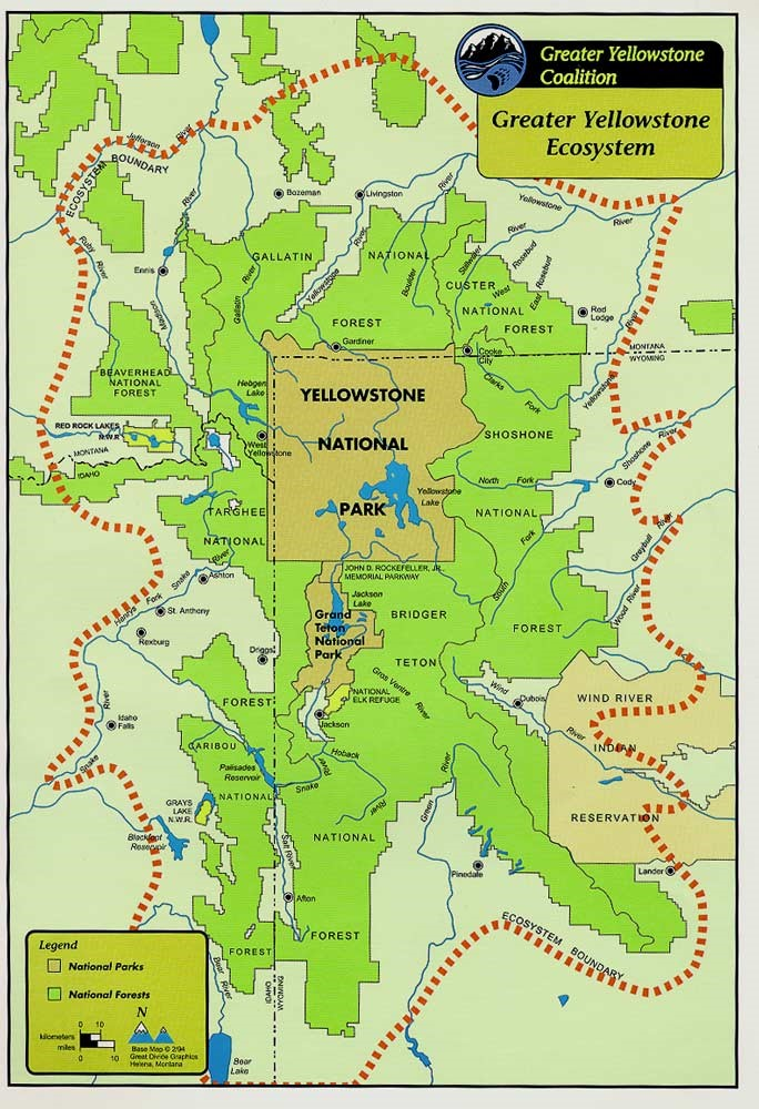 Map of the Greater Yellowstone Ecosystem. Credit: GYC