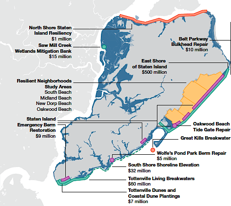 Resilience Projects and their total cost. Staten Island, NY