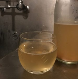 A glass of unfiltered fermented beverage sits next to an unmarked bottle on a stainless steel counter