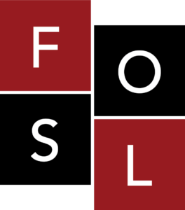 Logo for the FOSL program: Friends of Stevenson Library
