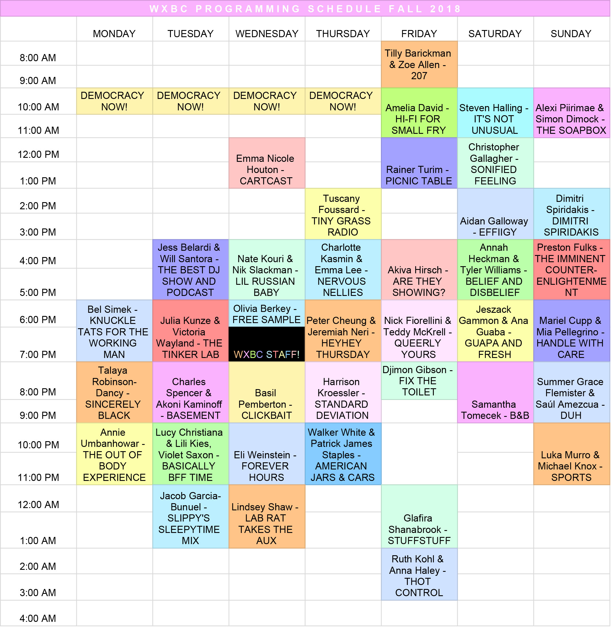 WXBC Programming Schedule Fall 2018